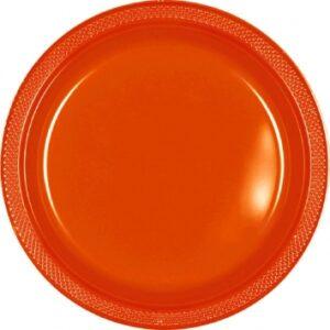 Tableware Orange Plastic Plates 7in 20ct