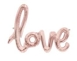 Balloon love script banner rose gold 40in
