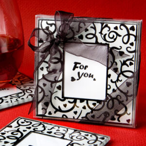 Favor 2 Coasters Damask Photo slot