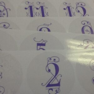 1-12 Purple Cling Table Number