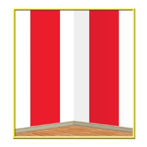 Back Drop Red & White  4x30feet