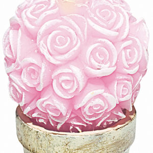 Candle Pink Roses and Gold Base