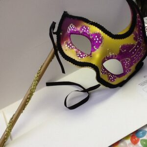 A Masquerade Mask Gold Purple on dowel
