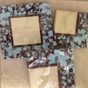 Tableware Teal N Brown Flower Plates