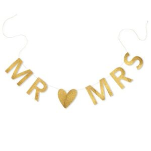 Banner Mr  Mrs Gold Glittered