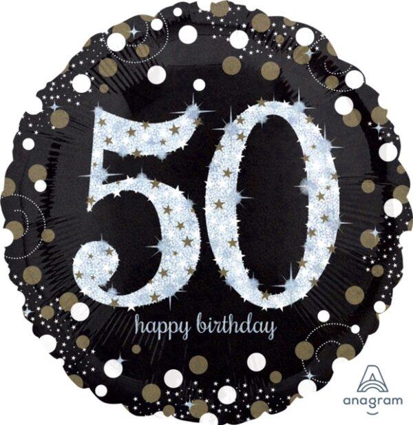 A Sparkling 50 Birthday Balloon