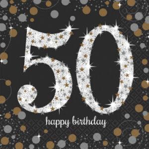 A Sparkling 50 Birthday Napkins