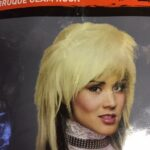 cos acc wig rocker glam rock blone blk