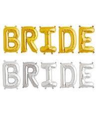 bridal shwr bal BRIDE sil gold