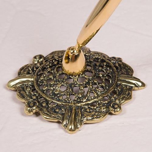 wed acc pen set gold base with pen filigree 7193-z