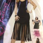 cos f blk fringed dress