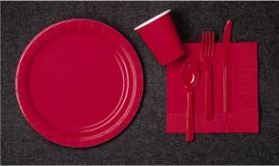 can day red table ware